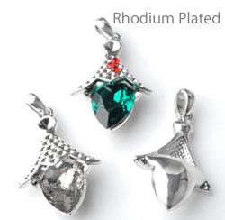 www.beadyourfashion.nl - Metalen hanger/bedel rhodium plated eikel ± 35x19mm met kastjes voor SWAROVSKI ELEMENTS 4320 ± 14x10mm Fancy Stone en 1028/1088 PP9 (± 1,5mm) (32x) en PP24 (± 3,1mm) similistenen
