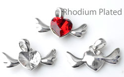 www.beadyourfashion.com - Metal pendant/charm rhodium plated heart with wing ± 17x24mm with setting for SWAROVSKI ELEMENTS 4831 ± 11x10mm Fancy Stone