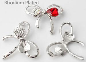 www.beadyourfashion.nl - Metalen hanger/tussenzetsel rhodium plated strikje ± 37x31mm met kastjes voor SWAROVSKI ELEMENTS 4831 ± 11x10mm Fancy Stone en 1028 PP9 (± 1,5mm) (43x) similistenen