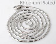 Collar de brass (latón) rhodium plated ± 55cm (eslabón ± 5x2mm y cierre ± 10x5mm)