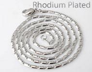 Brass Halskette (Messing) rhodium plated ± 60cm (Glied ± 5x2mm und Verschluß ± 10x5mm)
