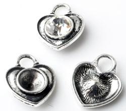 www.beadyourfashion.es - Colgantes/dijes de metal, corazón ± 20x16mm con cuadro por SWAROVSKI ELEMENTS 1028/1088 SS39 (± 8,2mm) imitación de diamante