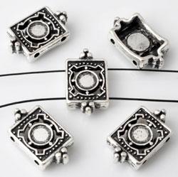www.beadyourfashion.nl - Metalen verdelers rechthoek bewerkt ± 9x15mm met kastje voor SWAROVSKI ELEMENTS 2058 SS16 (± 3,9mm) plaksteen