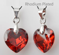 www.beadyourfashion.com - Cubic zirconia pendant/charm heart faceted, with brass pendant bail rhodium plated ± 24x17mm