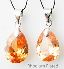 www.beadyourfashion.com - Cubic zirconia pendant/charm drop faceted, with brass pendant bail rhodium plated ± 23x10mm