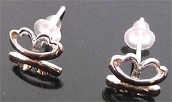 www.beadyourfashion.nl - 925 Zilveren oorstekers (sterling silver) met klavertje vier ± 8mm, ± 13mm lang, met kunststof dopjes