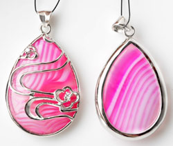 www.beadyourfashion.com - 925 Silver pendant/charm (sterling silver), drop with natural stone Agate and cubic zirconia ± 40x24mm