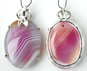 www.beadyourfashion.com - Natural stone pendant/charm Agate oval, with 925 silver pendant bail (sterling silver) ± 38x22mm