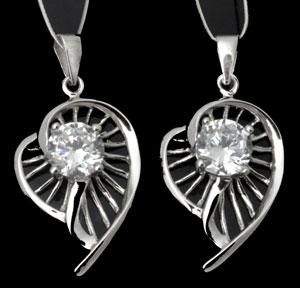 www.beadyourfashion.nl - 925 Zilveren hanger/bedel (sterling silver) bewerkt met zirkonia ± 29x15mm