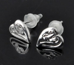 www.beadyourfashion.com - 925 Silver ear studs (sterling silver) with heart decorated ± 7x6mm, ± 11mm  long, with synthetic ear nuts