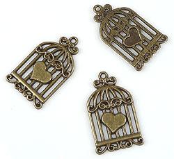 www.beadyourfashion.nl - Metalen hangers/bedels vogelkooi bewerkt met hartje ± 34x19mm