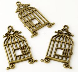 www.beadyourfashion.nl - Metalen hangers/bedels vogelkooi met open deurtje ± 34x21mm