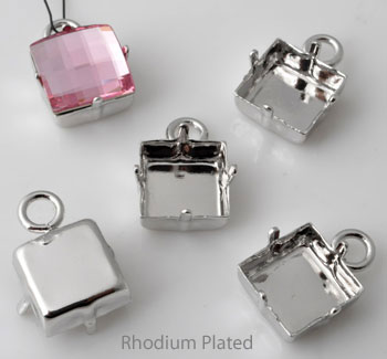 www.beadyourfashion.com - Brass pendants/charms square ± 19x13mm with setting for SWAROVSKI ELEMENTS 4447 ± 12mm Fancy Stone