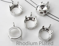 Brass opnaai/rijg kastjes (messing) rhodium plated rond met oogje ± 20x14mm voor SWAROVSKI ELEMENTS 1122 ± 14mm similisteen