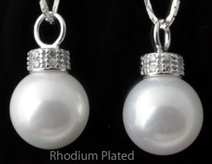 www.beadyourfashion.com - Mother of pearl pendant/charm with 925 silver pendant bail (sterling silver) rhodium plated, with cubic zirconia and large hole ± 21x12mm (hole ± 4mm)