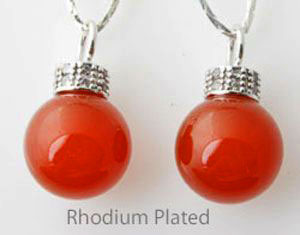 www.beadyourfashion.com - Natural stone pendant/charm Red Agate with 925 silver pendant bail (sterling silver) rhodium plated, with cubic zirconia and large hole ± 21x12mm (hole ± 4mm)