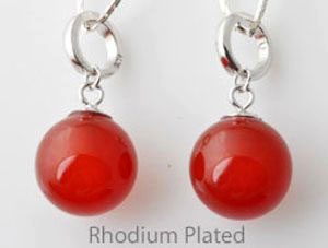 www.beadyourfashion.com - Natural stone pendant/charm Red Agate with 925 silver pendant bail (sterling silver) rhodium plated, with large hole ± 25x12mm (hole ± 6mm)