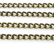 Metal chain with oval links ± 1 meter (link ± 6x4,5mm)