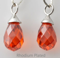 www.beadyourfashion.com - Cubic zirconia pendant/charm drop faceted, with 925 silver pendant bail (sterling silver) rhodium plated ± 22x9mm
