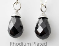 Cubic zirconia pendant/charm drop faceted, with 925 silver pendant bail (sterling silver) rhodium plated ± 22x9mm