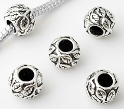 www.beadyourfashion.com - Large-hole-style 925 silver bead (sterling silver), roundel decorated with leafs ± 10x7mm (hole ± 4,5mm)