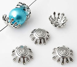 www.beadyourfashion.com - 925 Silver cap (sterling silver) decorated ± 6x17mm