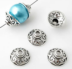 www.beadyourfashion.com - 925 Silver cap (sterling silver) decorated ± 7x14mm