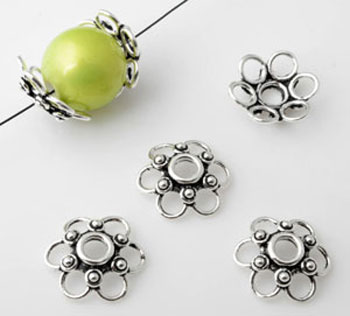 www.beadyourfashion.com - 925 Silver cap (sterling silver) flower decorated ± 15x4mm