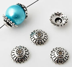 www.beadyourfashion.com - 925 Silver cap (sterling silver) decorated ± 11x4mm