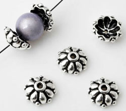 www.beadyourfashion.com - 925 Silver cap (sterling silver) flower decorated ± 9x4mm