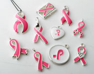 Mix metalen hangers/verdelers 'pink ribbon' met epoxy ± 15x13 - 25x13mm met kastjes voor SWAROVSKI ELEMENTS 1028/1088 PP9 (± 1,5mm) similistenen