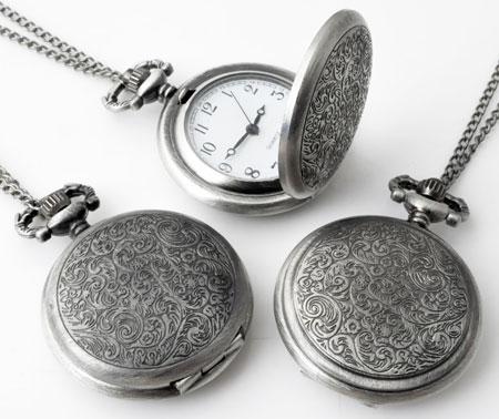 www.beadyourfashion.fr - Collier de métal ± 75cm avec pendule/montre décorée ± 55x40mm