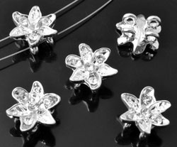 www.beadyourfashion.com - Metal dividers flower decorated, with strass ± 14x12mm, ± 6mm thick