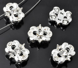 www.beadyourfashion.com - Metal dividers decorated, with strass ± 12x14mm, ± 6mm thick
