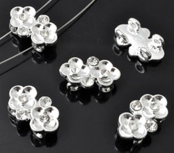 www.beadyourfashion.com - Metal dividers flowers decorated, with strass (SS8, SS10) ± 10x17mm, ± 6mm thick