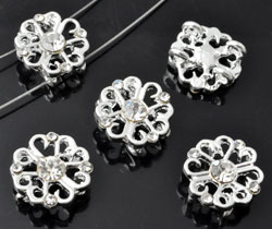 www.beadyourfashion.com - Metal dividers flower decorated, with strass (SS5, SS18) ± 14x14mm, ± 6mm thick