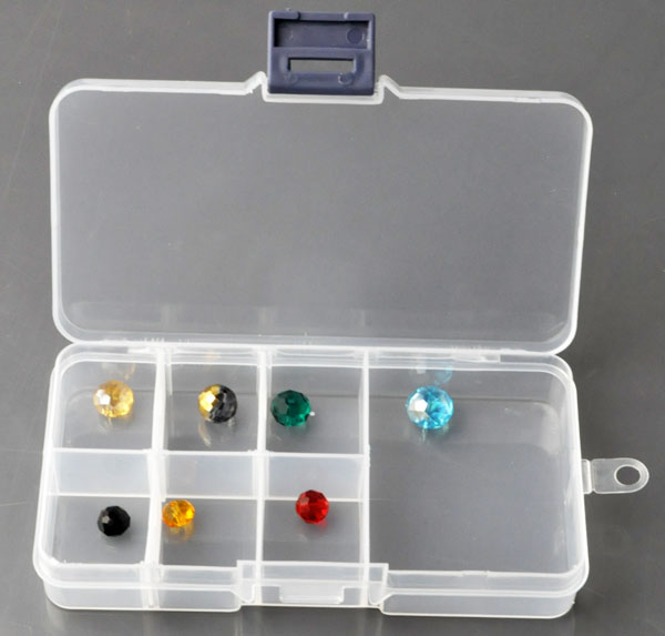 www.beadyourfashion.com - Synthetic beads box with maximum 7 compartments (6x little, 1x big) including partitions± 13x7cm (without beads)