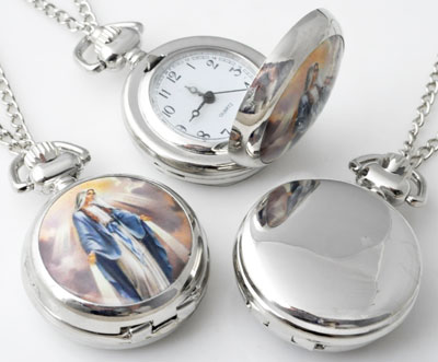 www.beadyourfashion.com - Metal necklace ± 77cm with clock/watch decorated with ceramic with Mary ± 43x29mm