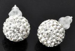 www.beadyourfashion.nl - 925 Zilveren oorstekers (sterling silver) met strass bol ± 10mm, ± 20mm lang, met kunststof dopjes