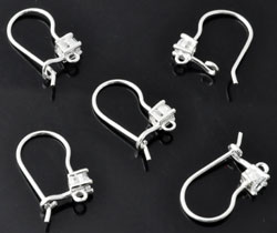 www.beadyourfashion.com - 925 Silver ear wire fish hook (sterling silver) with cubic zirconia and eye ± 16x9mm