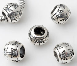 www.beadyourfashion.com - Large-hole-style 925 silver bead (sterling silver) with cubic zirconia, roundel decorated ± 8x9mm (hole ± 5mm)