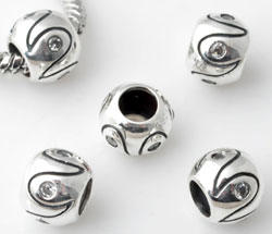 www.beadyourfashion.com - Large-hole-style 925 silver bead (sterling silver) with cubic zirconia, roundel decorated ± 7x9mm (hole ± 5mm)