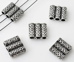 www.beadyourfashion.com - 925 Silver divider (sterling silver) with three holes, decorated ± 10x11mm