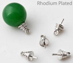 www.beadyourfashion.nl - Brass pin (messing) rhodium plated met oogje voor kraal met halfgeboord gat ± 10x5mm (pin ± 1mm dik) (gat ± 1mm)