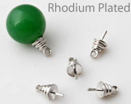 Brass pin rhodium plated with eye for bead with half-drilled hole ± 10x5mm (pin ± 1mm thick) (hole ± 1mm)