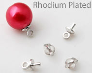 Brass pin rhodium plated with eye for bead with half-drilled hole ± 7x4mm (pin ± 1mm thick) (hole ± 2mm)
