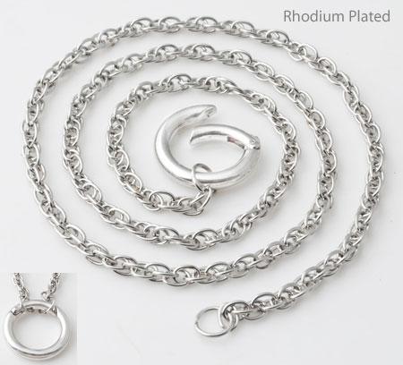 www.beadyourfashion.nl - Metalen halsketting rhodium plated met ovale schakels ± 60,5cm, ± 3mm dik (schakel ± 4x3mm) met metalen hanger/tussenzetsel ring rhodium plated, naar binnen te openen ± 25m, ± 4mm dik