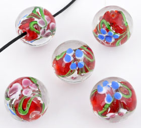 www.beadyourfashion.nl - Glaskraal Italian style rond met bloemen ± 19x20mm (gat ± 2mm)