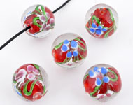 Glass bead Italian style round with flowers ± 19x20mm (hole ± 2mm)