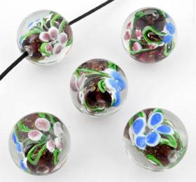 www.beadyourfashion.com - Glass bead Italian style round with flowers ± 19x20mm (hole ± 2mm)